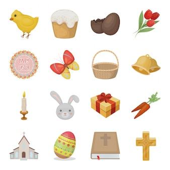 Desenho de feriado da páscoa definir ícone. desenhos animados isolados férias definir ícone. feriado da páscoa .