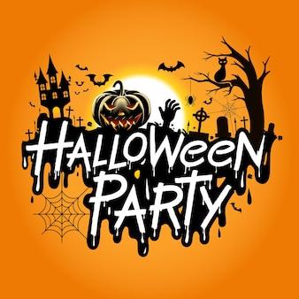 Desenho de festa de halloween isolado em amarelo