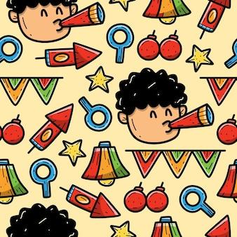 Desenho de festa doodle padrão sem emenda