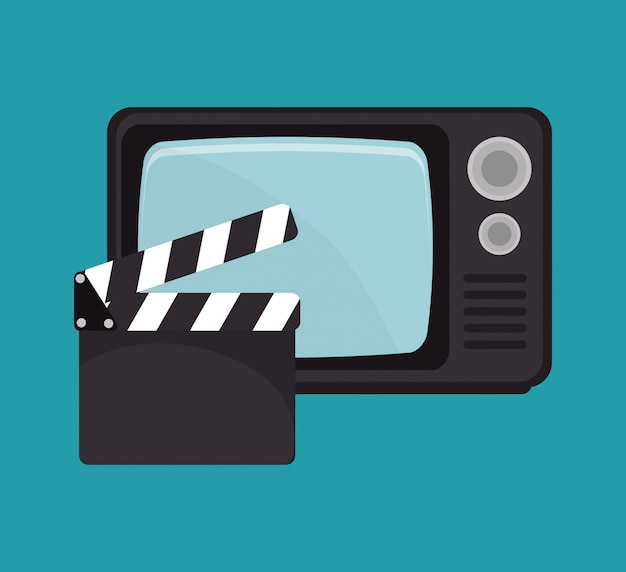Desenho de filme de tv de claquete de desenhos animados