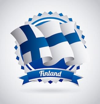 Desenho de finlândia sobre ilustração vetorial de fundo cinza