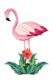 Desenho de flamingo tropical