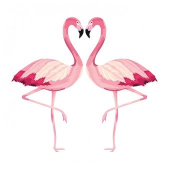 Desenho de flamingos tropical