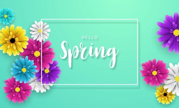 Desenho de flor de banner primavera fundo com linda