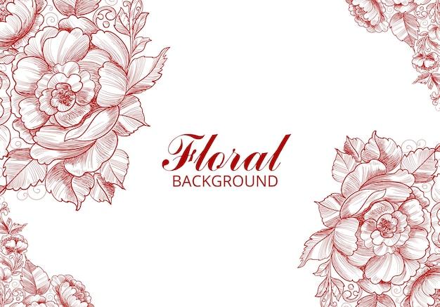 Desenho de flores abstratas e cartão de esboço