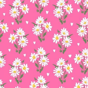 Desenho de flores de camomila sem costura padrão