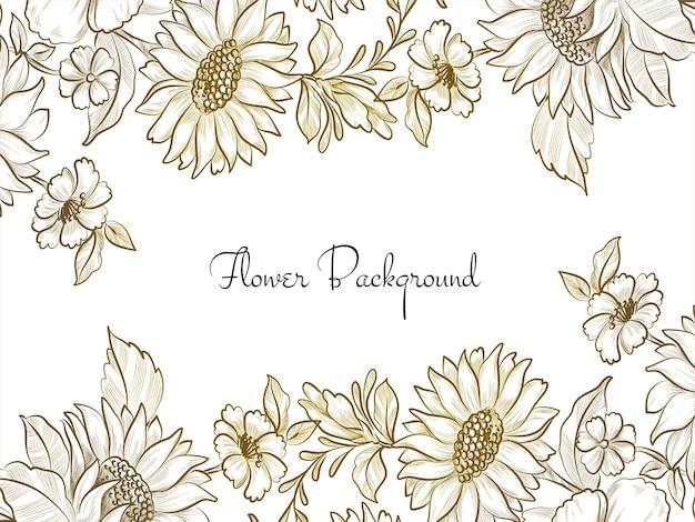 Desenho de flores decorativas desenhadas à mão fundo elegante