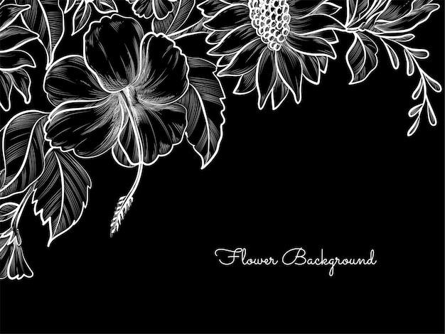 Desenho de flores desenhadas à mão em fundo escuro