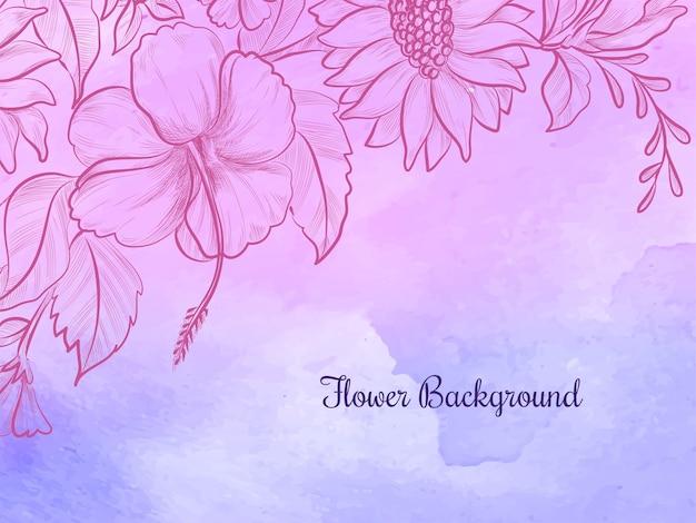 Desenho de flores desenhadas à mão fundo aquarela colorido