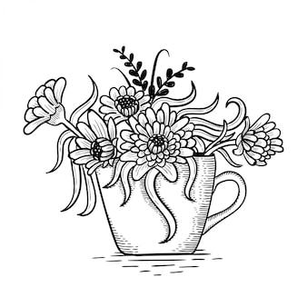 Desenho de flores em uma panela