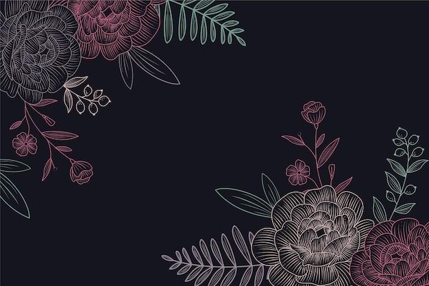 Desenho de flores no design de plano de fundo do quadro-negro