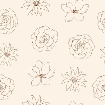 Desenho de flores sem costura padrão
