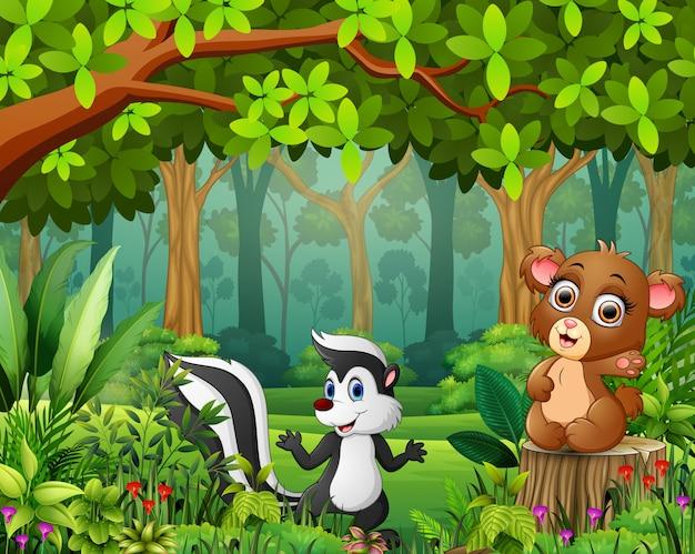 Desenho de floresta de paisagem de verde na primavera com animal