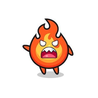 Desenho de fogo fofo em uma pose de muita raiva, design de estilo fofo para camiseta, adesivo, elemento de logotipo
