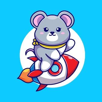 Desenho de foguete bonito com mouse