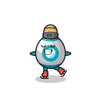 Desenho de foguete como um jogador de patinação no gelo fazendo performance, design de estilo fofo para camiseta, adesivo, elemento de logotipo