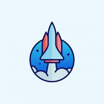 Desenho de foguete de desenho animado. design do logotipo do foguete. modelo de design de logotipo.