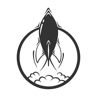 Desenho de foguete em círculo, isolado no fundo branco.