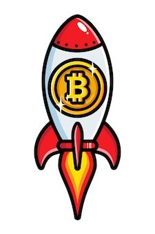 Desenho de foguete voador com emblema bitcoin
