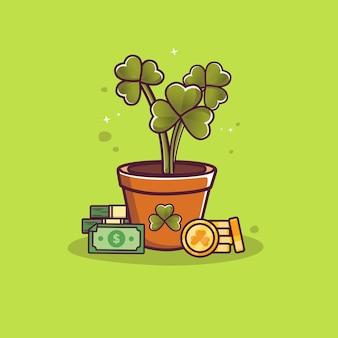 Desenho de folha de trevo em pote com desenho de dinheiro