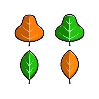 Desenho de folhas conjunto isolado no fundo branco. estilo simples simples dos desenhos animados. projeto de ilustração vetorial isolado para adesivos, logotipo, web e aplicativos móveis.