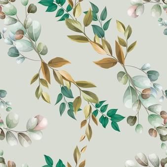 Desenho de folhas de belo padrão sem emenda