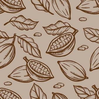 Desenho de folhas e frutos de chocolates na cor marrom sobre fundo marrom claro em estilo vintage