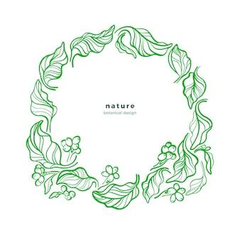 Desenho de folhas em círculo ramo verde e grão de café tropical em guirlanda símbolo de produto natural fresco
