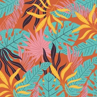 Desenho de folhas tropicais