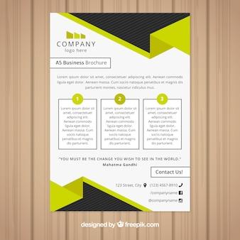 Desenho de folheto empresarial preto e amarelo