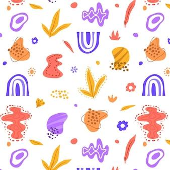 Desenho de formas planas abstratas desenhadas à mão