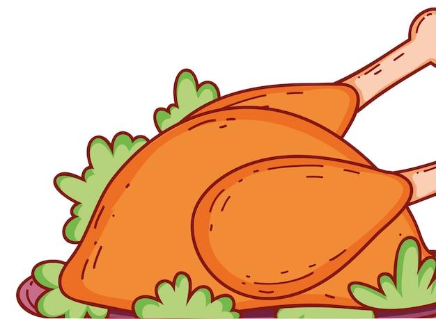 Desenho de frango assado
