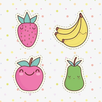 Desenho de frutas fofas maçã banana pêra