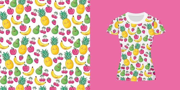 Desenho de frutas fofas