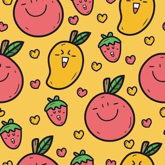 Desenho de frutas kawaii doodle