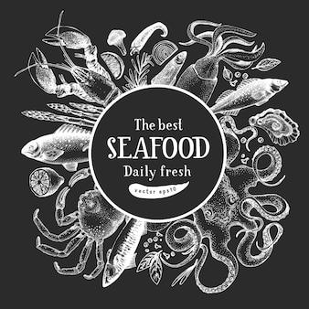 Desenho de frutos do mar desenhado à mão