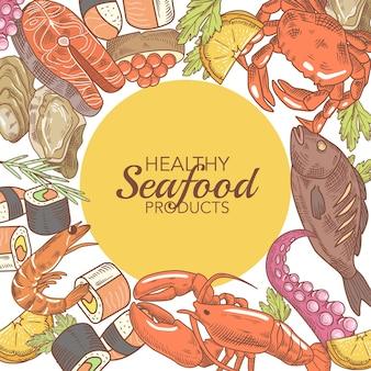 Desenho de frutos do mar desenhados à mão com peixe caranguejo