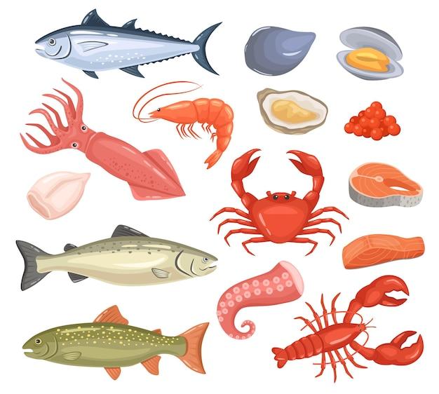 Desenho de frutos do mar peixe fresco ostra, lagosta, atum vermelho, salmão, polvo, camarão, lula, conjunto