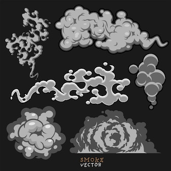 Desenho de fumaça definido na cinza