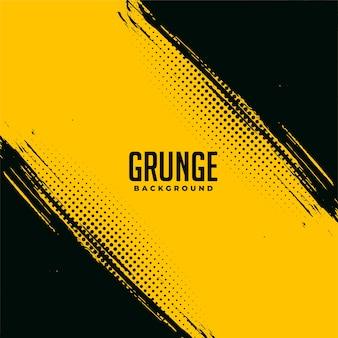 Desenho de fundo abstrato grunge preto e amarelo