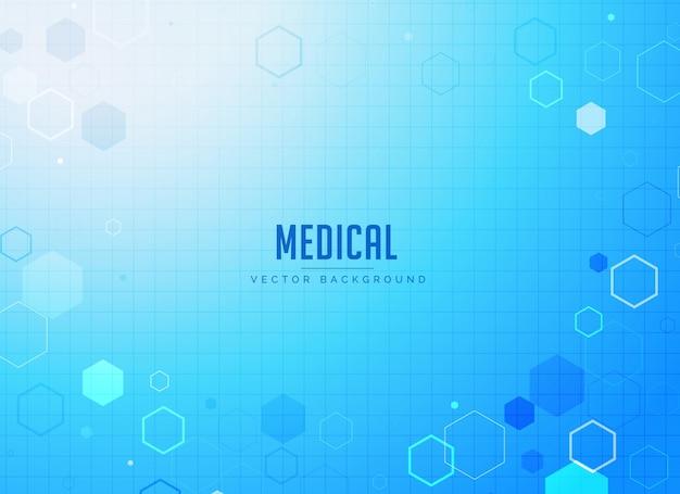 Desenho de fundo azul de cuidados médicos com formas hexagonais