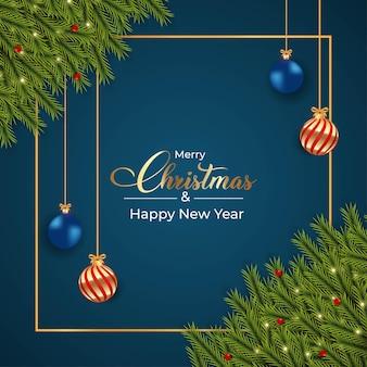 Desenho de fundo azul escuro de natal com bolas luxuosas de decoração em azul vermelho e dourado