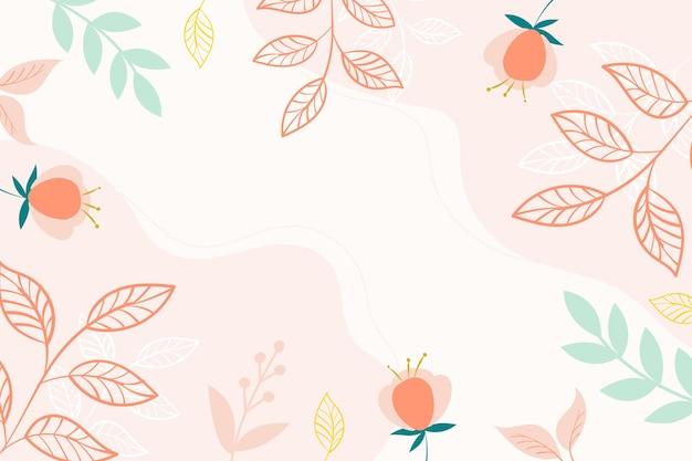 Desenho de fundo botânico moderno em cores rosa com espaço para texto