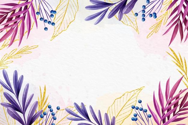 Desenho de fundo colorido com folha dourada