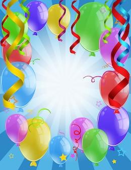 Desenho de fundo com balões coloridos e fitas