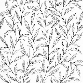 Desenho de fundo com ilustração botânica desenhada a mão