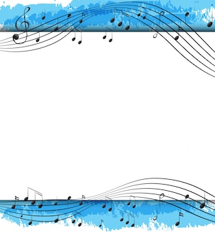 Desenho de fundo com notas musicais em escalas