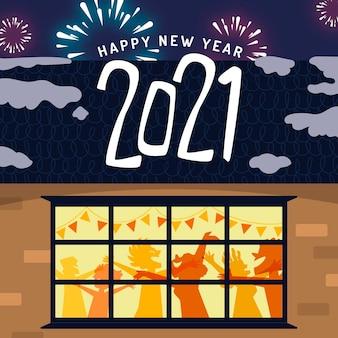 Desenho de fundo de ano novo de 2021 com pessoas festejando