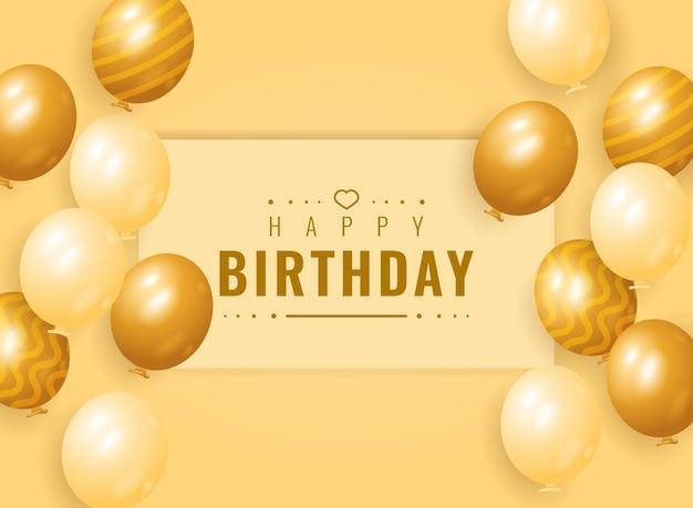 Desenho de fundo de banner de feliz aniversário com balão dourado
