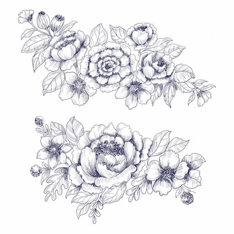 Desenho de fundo de desenho floral de casamento